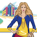 Девушка в городе иллюстрация штока