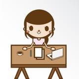 Девушка в ее домашнем офисе Иллюстрация вектора