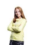 Девушка в желтых идущих изолированных гетры куртки и фитнеса, Стоковая Фотография