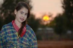 Девушка в западных одеждах стоковые фотографии rf