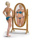 Девушка в зеркале стоковое фото rf