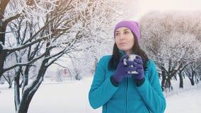 Девушка в зиме в природе выпивает горячий чай от thermos Стоковые Фотографии RF