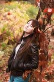 Девушка в листьях осени Стоковая Фотография