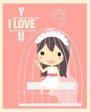 Девушка в карточке валентинки клетки Стоковые Фото