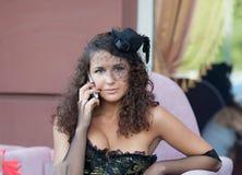 Девушка в кафе Стоковые Изображения