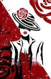 Девушка в костюме и шляпе моды изолировала художественное произведение и цифровую картину иллюстрация штока