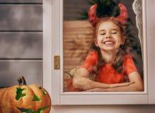 Девушка в костюме дьявола Стоковая Фотография RF