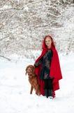 Девушка в красном пальто с собакой стоковая фотография rf