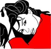Девушка в красном платье иллюстрация вектора