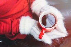 Девушка в красном свитере и белых mittens держа чашку стоковое изображение rf