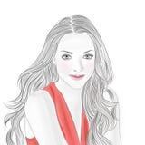 Девушка в красном цвете стоковое изображение rf