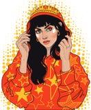девушка в кроне и свитере с клобуком иллюстрация штока