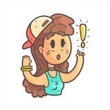 Девушка в крышке, чокеровщике и голубой верхней части говоря что-то важной нарисованный рукой портрет Emoji холодный законспектир Стоковое Изображение RF