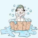 Девушка в купая замерли тазе, который Стоковые Изображения RF
