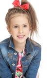 Девушка в куртке джинсовой ткани Стоковые Фото