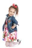 Девушка в куртке джинсовой ткани Стоковое Изображение