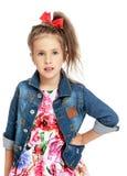 Девушка в куртке джинсовой ткани Стоковое Изображение RF