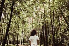 Девушка в лесе лета, тонизированной предпосылке природы Стоковое Изображение RF