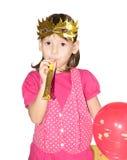 Девушка в маске с трубой Стоковое Фото