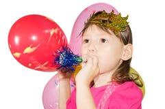 Девушка в маске с трубой Стоковая Фотография RF