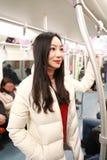 Девушка в метро метро Стоковое Изображение RF