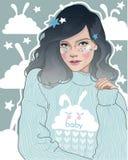 девушка в милые пижамы иллюстрация вектора