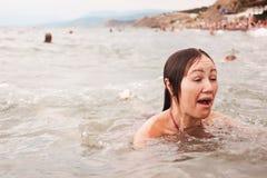 Девушка в море Стоковая Фотография RF