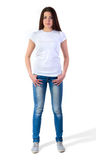 Девушка в модель-макете футболки Стоковые Изображения RF