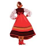 Девушка в национальных танцах костюма на этапе иллюстрация штока