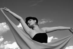 Девушка в небе Стоковые Фотографии RF