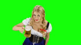Девушка в пиве и выставках баварского костюма выпивая большой палец руки зеленый экран видеоматериал