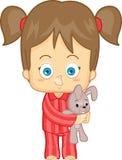 Девушка в пижамах Иллюстрация штока