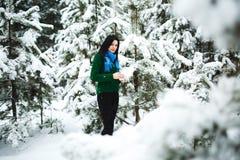 Девушка в портрете леса зимы девушки Девушка в зиме идет в древесины снег льет от ветви Стоковое Фото