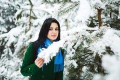 Девушка в портрете леса зимы девушки Девушка в зиме идет в древесины снег льет от ветви Стоковое фото RF