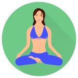 Девушка в представлении йоги - лотос Иллюстрация вектора Minimalistic Стоковое Фото