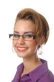Девушка в пурпуровой рубашке Стоковые Изображения