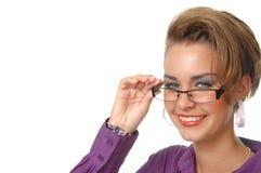 Девушка в пурпуровой рубашке Стоковая Фотография