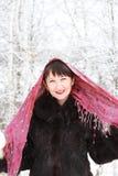 Девушка в пуще зимы Стоковая Фотография RF
