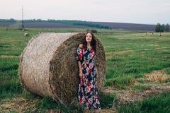 Девушка в платье в стогах лета Стоковое фото RF