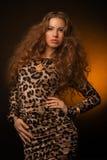 Девушка в платье леопарда и черных ботинках на коричневой предпосылке Стоковая Фотография RF