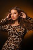 Девушка в платье леопарда и черных ботинках на коричневой предпосылке Стоковая Фотография