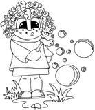 Девушка в плоском стиле на белой предпосылке Картина контура Расцветка на белизне стоковое изображение rf