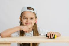 Девушка в работе класса стоковое фото