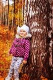 Девушка в древесинах около дерева Стоковые Изображения RF