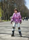 Девушка в розовой куртке стоковое фото rf