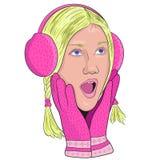 Девушка в розовых наушниках и перчатках от сюрприза раскрыла его mout иллюстрация штока