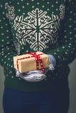 Девушка в свитере ` s Нового Года Стоковая Фотография