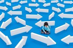 Девушка в середине стрелок Стоковая Фотография