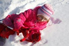 Девушка в снеге Стоковые Фотографии RF