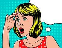 Девушка в сотрясенной эмоции Иллюстрация вектора